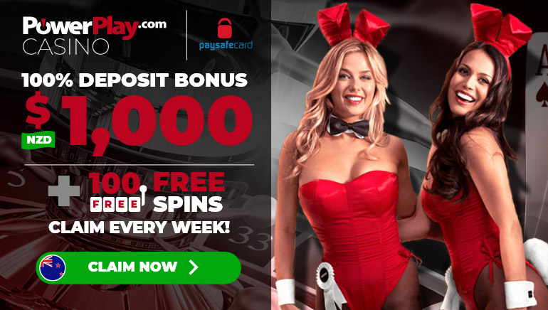 PowerPlay Casino - New Zealand players welcome bonus up to NZ$1000 plus 100 weekly free spins