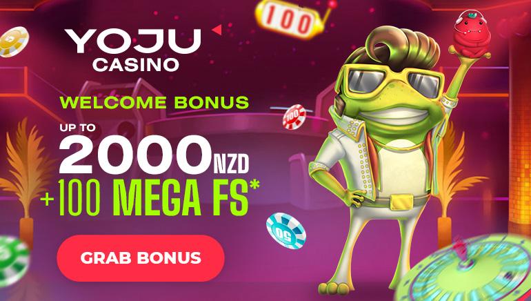 YOJU Casino - Welcome Bonus up to NZD2000 +100 mega free spins. Grab Bonus!